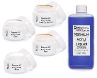 4x20g Acryl Puder Set 2-100ml Liquid Klar - Weiß - Pink - Apricot Powder in Studio Qualität