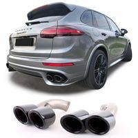Doppelrohr Endrohre GTS Optik Schwarz für Porsche Cayenne 92A Facelift 14-17