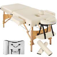 tectake 2 Zonen Massageliege mit 7,5cm Polsterung und Holzgestell - beige