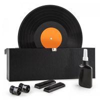 """auna Vinyl Clean - Schallplattenwaschmaschine , Vinyl Reinigungs und Pflegeset , für 7"""", 10"""" und 12"""" Schallplatten , leichtgängiges Rollensystem , Flasche mit destilliertem Wasser und Tuch , schwarz"""