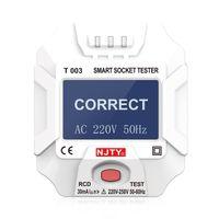NJTY 220  250 V EU-Steckdosentester Smart Socket Tester Digitalanzeige LCD-Steckdosentester Schaltkreis Polaritaetsdetektor Wandsteckerbrecher Finder Dichtheitspruefung fuer Haushaltsgeraetetests
