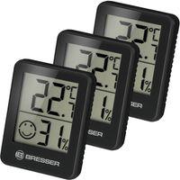 BRESSER Temeo Hygro Indikator 3er Set Thermo-/Hygrometer Farbe: schwarz