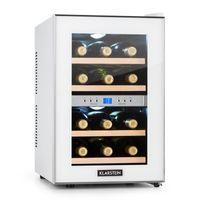 Klarstein Reserva - Weinkühlschrank, Getränkekühlschrank, Kühlschrank, 34 Liter, 2 programmierbare Kühlzonen, 12 Weinflaschen, 7-18 °C, Innentemperaturanzeige, weiß