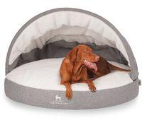 Knuffelwuff Hundehöhle Caden aus Velours mit Handwebcharakter und kuscheliger Liegefläche mit stabilem Dach Ø 100cm Weiß-Grau