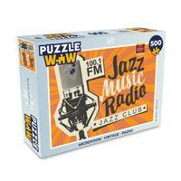 Puzzle 500 Teile - Vektor-Banner für Radiosender mit Studio-Mikrofon und Inschrift Jazz Musik Radio