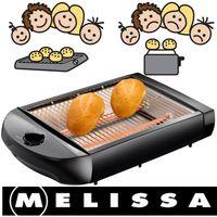 Melissa 16140145  Flachtoaster Tischröster Bunwarmerbereiten Sie leckere Toasts oder Sandwichtoastscheiben vor oder backen knusprige Brötchen auf. Auch für Baguettes oder Flutes (längere Brötchen) sehr geeignet.