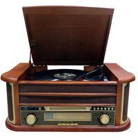 Cyberlux Nostalgie Holz Musikanlage | Retro Stereoanlage | Plattenspieler | Kompaktanlage |