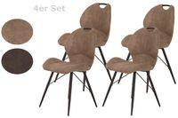 4er Set Esszimmerstuhl Kate – Bezug Vintage Schlamm- Metallgestell Rundrohr Schwarz – Bügelgriff am Rücken - 120kg belastbar