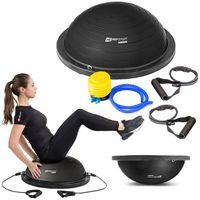 Hop-Sport Balance Ball HS-L058B Balancetrainer Gymnastikball mit Expander & Pumpe für Fitness, Stabilitäts-Training Ø 63,5 cm  - Schwarz