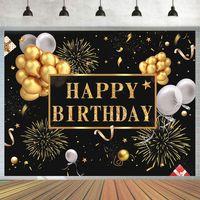 Fotografie Hintergrund Goldballon Geburtstag Hintergrund Stand Studio Requisiten 'Happy Birthday' 250x180cm