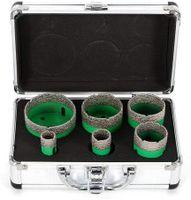 6pcs Diamant Bohrkronen Set Lochsäge Set M14 Fliesenbohrer Drill Bits Hole Saw Bohrer für Winkelschleifer Feinsteinzeug (Grün)