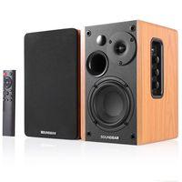 80W 2.0 HiFi-Lautsprecher Bücherregal Bluetooth-Lautsprecher Soundsystem Holzmusik-Lautsprecher für TV-Computer Soundbar 4.5Inch USB