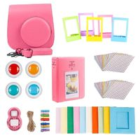 Für Fujifilm Instax Mini 9 Kamera PolyurethanSchutzhülle Filter + Close Up Objektiv Geschenkset Flamingo Pink Farbe Flamingorosa