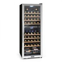 Klarstein Vinamour 54D - Weinkühlschrank, Getränkekühlschrank, Gastro-Kühlschrank, 2 Zonen, 148 Liter, 54 Flaschen, 8 Holzeinschübe, LED-Beleuchtung, Touch-Bediensektion, schwarz-silber