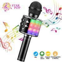 Computer-Mikrofone  Karaoke Mikrofon, Bluetooth Mikrophon mit Aufnahme, Dynamisches Licht Drahtlose Tragbares Handmikrofon mit Lautsprecher für Erwachsene und Kinder, Kompatibel mit Android IOS PC(Schwarz)