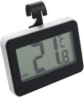 Kühlschrankthermometer Digital Kühlschrank Thermometer, wasserdichtes digitales Kühlschrank Gefrier Thermometer mit gut lesbarer LCD Anzeige (hängender, stehender und magnetischer Stick)(Schwarz)