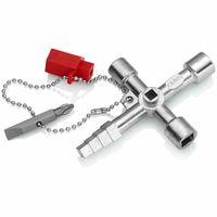 Knipex 001-104 Profi-Key inkl.Bit und Adapter, Zinkdruckguß, grausilber/rot