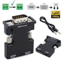 1080P HDMI Stecker auf zu VGA Buchse Adapter Konverter Stereo Audio USB Ausgang