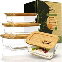 Klarstein eckiges Vorratsdosen-Set Aufbewahrungsboxen Lebensmitteldosen -  Glas -  Bambusdeckel -  4 Stück -  verschiedene Größen -  stapelbar -  luftdicht -  geschmacksneutral -  spülmaschinenfest -  geschmacksecht -  gefrierfest