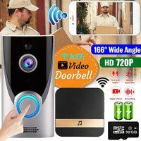 Smart App WiFi Wireless Türklingel mit Kamera HD WLAN Nachtsicht Video Funkklingel Ring doorbell +32GB Karte +2xAKkku Set Intelligente