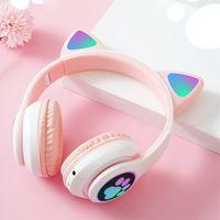 Katzenohr Kopfhörer Bluetooth drahtloser Stereo LED Licht Blinkt Karikatur süßes für Mädchen Weiblich Rosa
