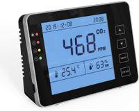 CO2 Messgerät KKmoon Kohlendioxid Detektor 0-5000 ppm für den Innenbereich Haushaltsluftdetektor Akustischer Alarm, großer Bildschirm - Schwarz