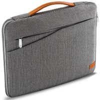 """deleyCON Notebook-Tasche für MacBook Laptop bis 15,6"""" (39,62cm) Schutztasche aus robustem Nylon 2 Zubehörfächer verstärkte Polsterwände - Grau"""