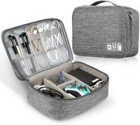 Elektronische Tasche Organizer, Universal Tragetasche Schutzhülle für Kabel, Adapter, USB-Sticks, Powerbank, Speicherkarten, Externe Festplatte (L1: Grau)