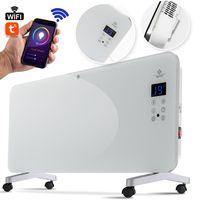 KESSER® Elektro Glasheizung Konvektor Elektroheizung Heizung Heizkörper Touch Display, Modell:Weiß / 2000 Watt