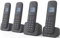 Telekom Sinus CA37 Quattro Strahlungsarmes Schnurlostelefon mit Anrufbeantworter, Rufnummernanzeige, 4 Mobilteile, Freisprechfunktion, DECT