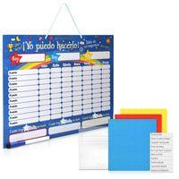 Navaris abwischbare Belohnungstafel magnetisch 40x32cm - Kinder Aufgaben Tafel - Magnettafel inkl. 250 Sternchen - Sterne Aufgabenplan - Spanisch