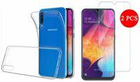 Für Samsung Galaxy A40 5.9 Zoll Silikoncase Transparent Tasche Hülle Cover + 2X Samsung Galaxy A40 Panzerglas Glasfolie Display Schutz Folie Glas Full Screen 9H Hart Echt Glas Displayschutzfolie
