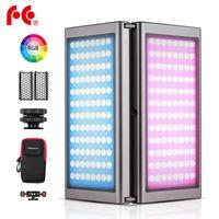 Falcon Eyes F7 Faltbares faltbares Video RGB-LED-Licht Vollfarbiges Fuelllicht Magnetisches 180° faltbares OLED-Display BT-Steuerung 20 Lichteffekte CCT HSI-Modus Eingebauter 7600-mAh-Akku