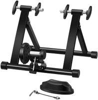 COSTWAY Rollentrainer aus Stahl, Cycletrainer klappbar, Fahrrad Heimtrainer für Indoor Fahrradtraining, Fahrradtrainer Schnellspannhebel und Double-Locking-System schwarz