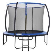 SONGMICS Trampolin Ø 305 cm bis 150 kg mit Leiter + Netz + Stangen + Abdeckung sicher Fitnessgerät rundes Gartentrampolin schwarz blau STR10BK