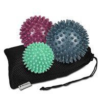Navaris 3x Igelball mit Noppen - 3er Set Igel Ball Massageball - Massage für Hand Fuß Rücken Balance - Fitness Noppenball medium und hart