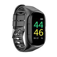 2-In-1 Smart Watch with TWS Earbuds Fitness Tracker True Wireless Headphones Step Calorie Counter Activity Tracker Smart Bracelet Wrist Band Heart Rate Blood Pressure Monitor【Schwarz】