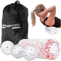 Hop-Sport Fitness-Set Massagebälle + Faszienrolle EPP zur Selbstmassage bei Muskelschmerzen - Weiß