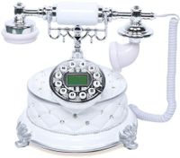 Desktop Vintage Festnetztelefon Haustelefon Schnurgebundenes Telefon Nostalgietelefon mit Wählscheibe und Metallklingel Tischdeko (Weiß)