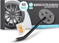 Universale Reifen Wandhalterung im 4 er Set - platzsparende Aufbewahrung Ihrer Autoreifen - inkl. Reifenprofilmesser - Optimaler Wandhalter auch für Leitern, Werkzeug, usw. -