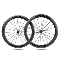 ICAN Carbon Laufräder Alpha 55 Laufradsatz Rennrad 55mm Deep Laufradsatz Carbon Clincher Tubeless Ready 20/24 Hole Shimano 10/11 V