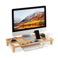 relaxdays Monitorständer Bambus mit 8 Fächern