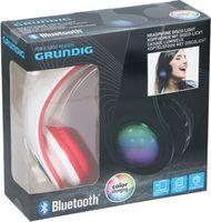 Grundig Kopfhörer mit Disco Licht und Bluetooth | kabellos | FM Radio Funktion | Freisprechfunktion, Farbe:Weiß/Rot