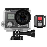 4K-Action-Kamera 2 + 0,96 Zoll Dual-LCD-Bildschirm 30 m wasserdicht 30 fps 170 ¡ã Ultraweitwinkelobjektiv WiFi 64 GB externer Speicher mit Fernausloeser Wasserdichtes Gehaeuse Montagezubehoer mit integriertem Akku