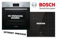 Bosch HERDSET INDUKTION AUTARK 3D Heißluft Backofen + Induktions Kochfeld 60cm Facette