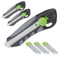 relaxdays 3 x PROFI Cuttermesser mit Ersatzklingen, Cutter, Teppichmesser Abbrechklingen