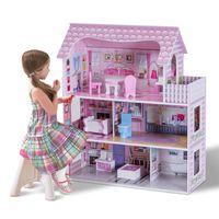 COSTWAY Puppenhaus Holz Puppenstube Puppenvilla Maedchen Spielzeug 3 Etagen mit Moebeln und Zubehoer