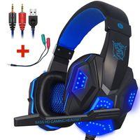 3.5mm Gaming Kopfhörer Headset Stereo Sound Headset mit Mikrofon HD Stereo USB LED für PS4 Xbox PC Laptop Blau