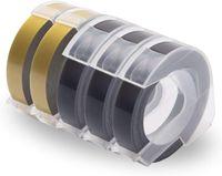 Xemax Kompatibel 3D Prägeband Farbbänder als Ersatz für Dymo 3D Kunststoff Prägebändern, 3D Klebendes Vinyl-Prägeetiketten für Dymo Omega Junior Etikettenprägegerät, 3x Weiß auf Schwarz, 2x Weiß auf Gold, 9mm X 5 Roll