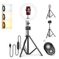 10-Zoll-Selfie-Ringlicht,Stativ,für Make-up / Fotografie / YouTube / Vlog / Tik Tok,kompatibel mit iPhone und Android